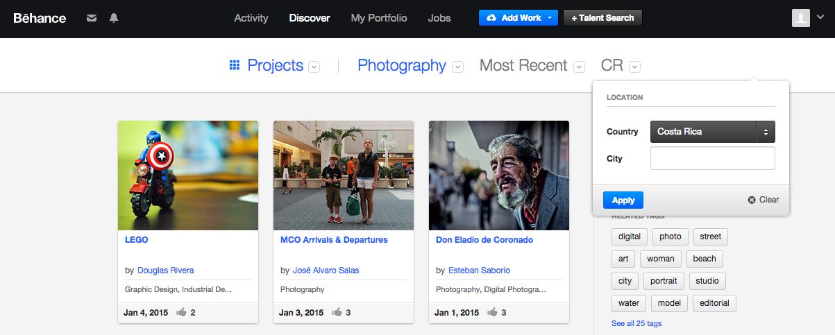 Capture d'écran du réseau social photo d'Adobe : Behance
