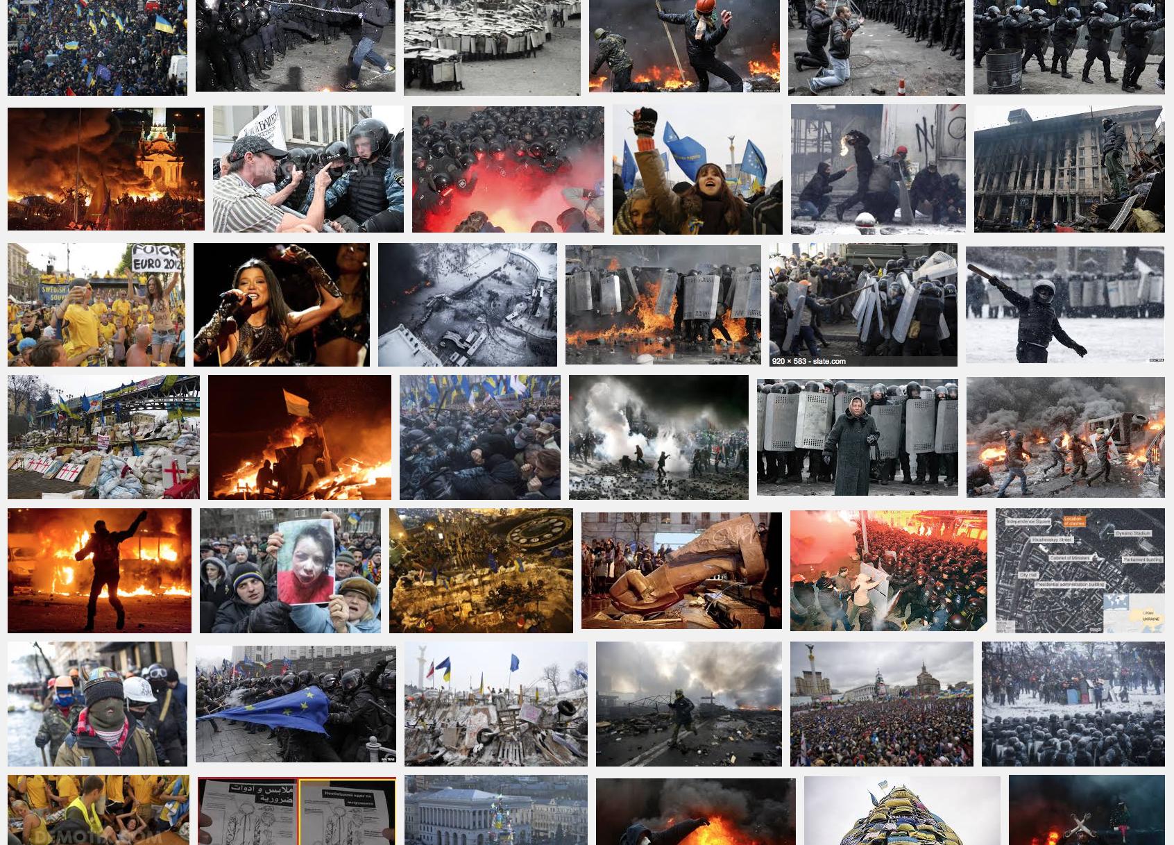 """Capture d'écran de la recherche Google pour """"manifestation à Kiev"""" postée par Donald Weber dans son article Medium"""