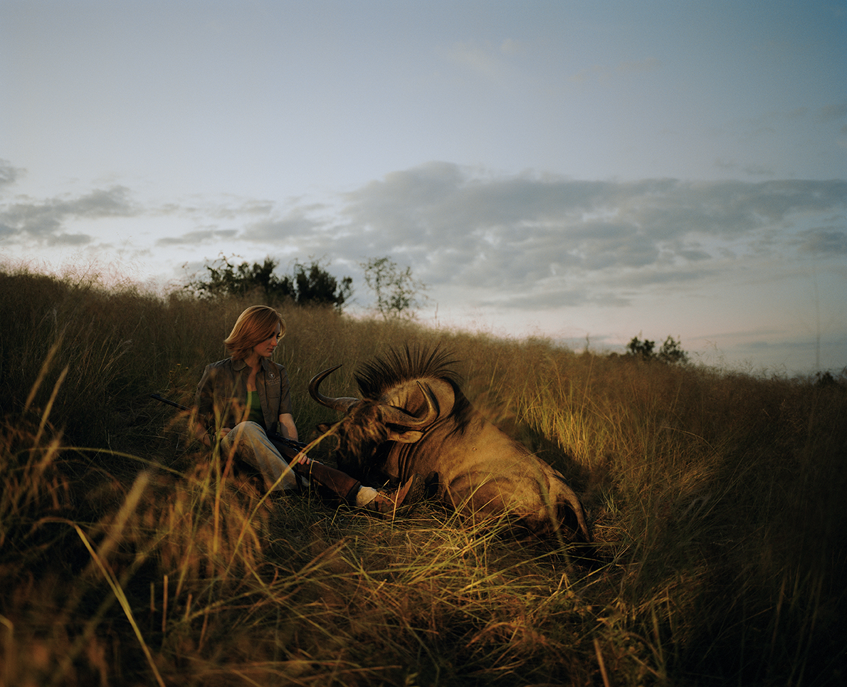 huntress with wildebeest, namibia