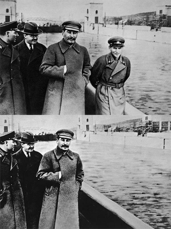 """Une des célèbres """"disparitions"""" orchestrées par Staline.  Quand la photographie refait l'histoire."""