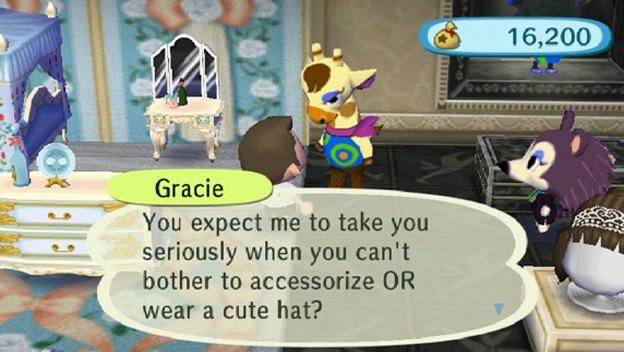 """Gracie dans Animal Crossing, connue pour son Fashion Check : """"Tu veux vraiment que je te prenne au sérieux alors que tu t'en fiche de porter des accessoires OU un joli chapeau ?"""""""