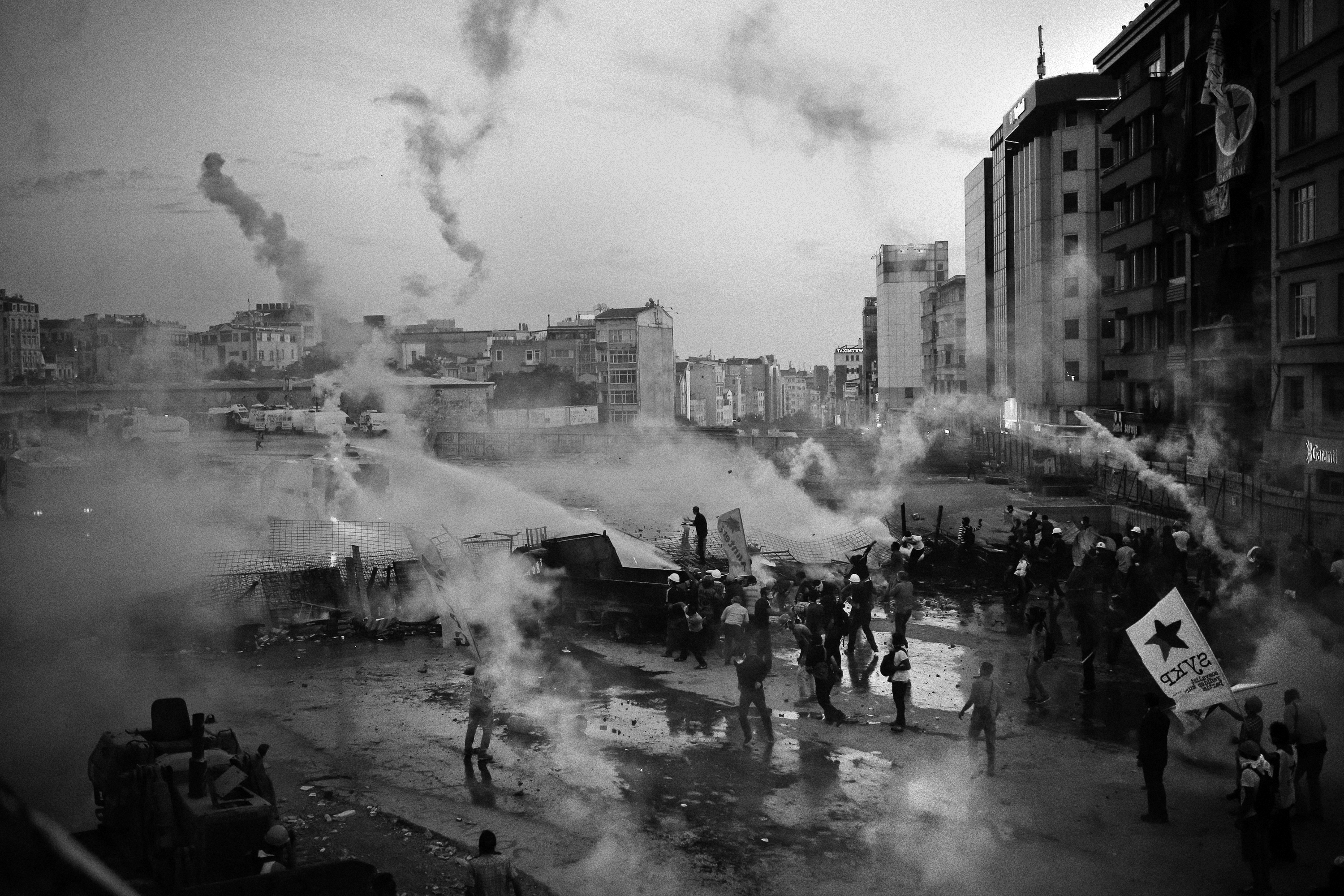 Riot police uses tear gaz and water canon during the Gezi park protest in Taksim square- Istanbul, Turkey, 4.06.2013